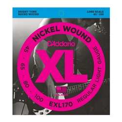 D'Addario EXL170 Nickel Wound Bass Guitar Strings Long Scale, Light